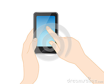 Mobile phone With hand, vector