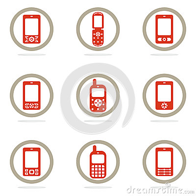 Mobile phone icon set