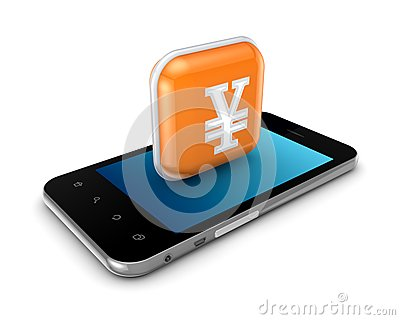 Mobile phone and icon with yen symbol.