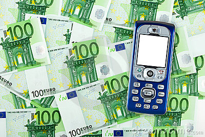 Mobile phone on money background
