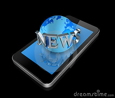 Mobile phone and news world globe