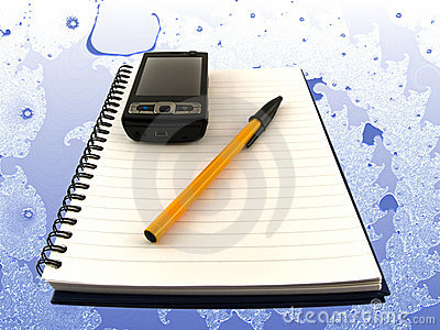 Mobile Phone and Pen on Notepad