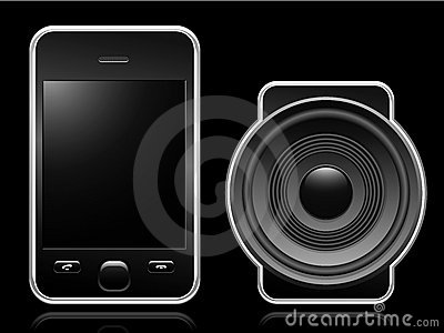 Mobile phone with portable speaker
