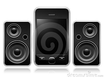 Mobile phone with portable speakers