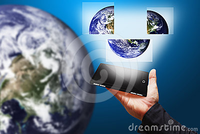 Mobile Phone and rebuild the Earth jigsaw