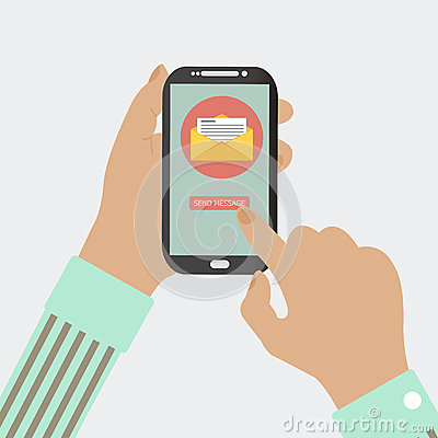 MOBILE PHONE SEND MESSAGE Vector Illustration