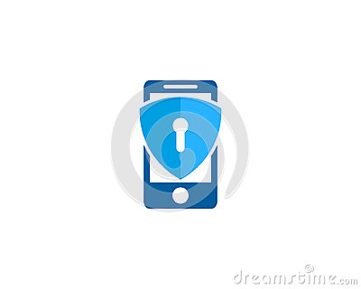 Mobile Phone Shield Security Icon Logo Design Element Vector Illustration
