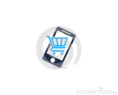 Mobile Phone Shopping Icon Logo Design Element Vector Illustration