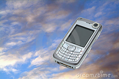 Mobile phone on sky