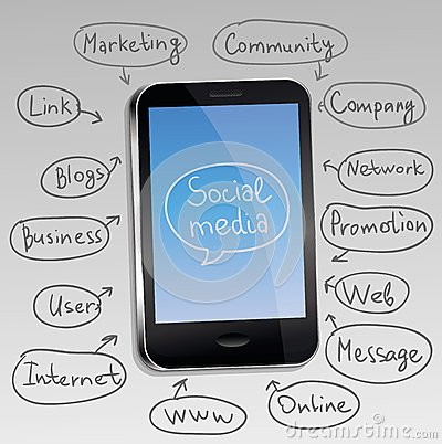 mobile phone with social media concept
