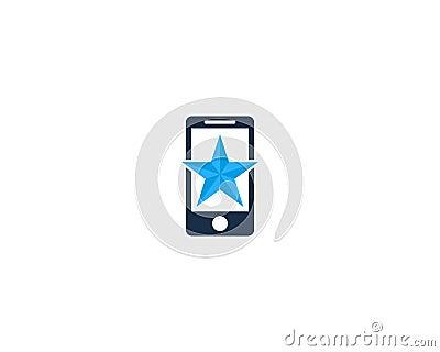 Mobile Phone Star Icon Logo Design Element Vector Illustration