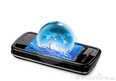 Mobile phone with water and planet earth splashing