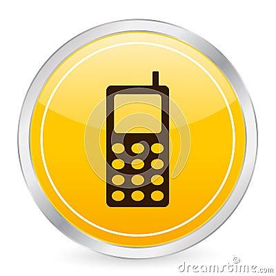 Mobile phone yellow circle ico