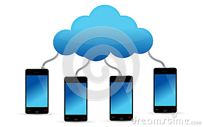 Mobile phones connected to cloud