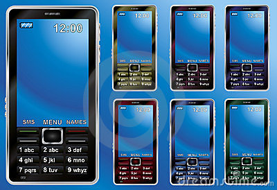 Mobile phones in different colors