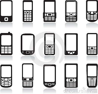 Mobile phones icons set