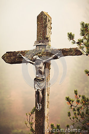Mobile photography toned crucifixed Christ outdoor