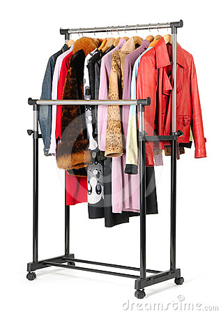 Mobile rack with clothes