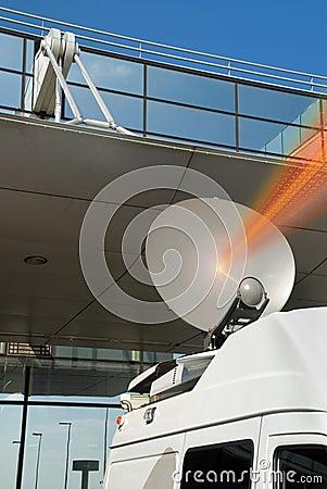 Mobile satellite dish and beam