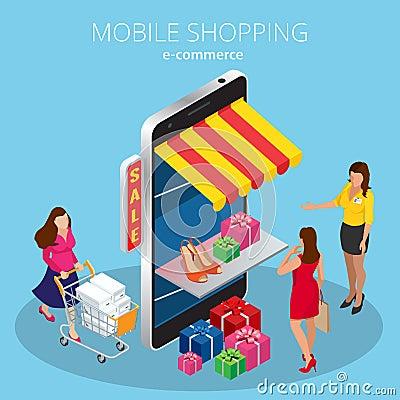 Mobile shopping e commerce online store flat 3d isometric for E commerce mobili
