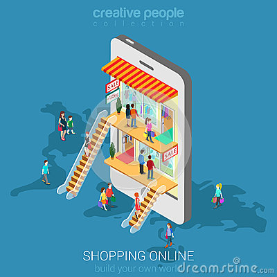 Free Mobile Shopping E-commerce Online Store Flat Vector Isometric Royalty Free Stock Photos - 66194028
