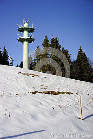 Mobile telephone antenna tower on mountain