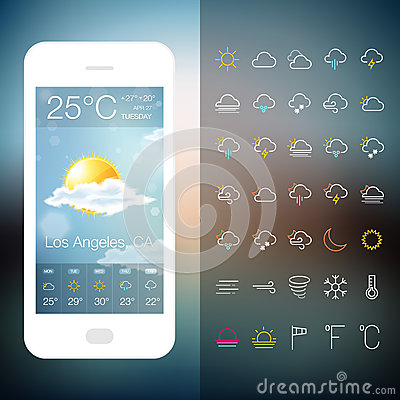 Mobile Weather Application Screen with icon set Vector Illustration