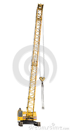 Free Mobile Yellow Crawler Crane Isolated On White Royalty Free Stock Photo - 47907955