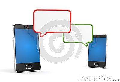 Mobilen ringer med anförande bubblar