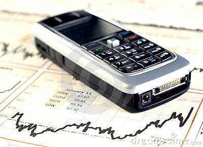 Mobilephone on stock chart