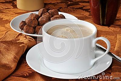 Mocha latte and truffles