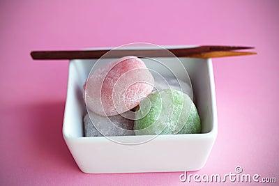 Mochi colorful japanese rice cakes, dessert