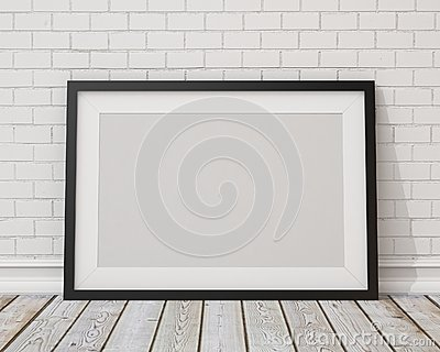 Mock up blank black horizontal picture frame on the white concrete wall and the vintage floor Stock Photo