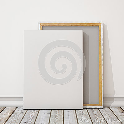 Free Mock Up Blank Canvas Or Poster With Pile Of Canvas On Floor And Wall, Background Royalty Free Stock Images - 47001679