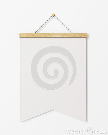 Mock up blank poster flag with wooden frame hanging on the for Wall templates for hanging pictures