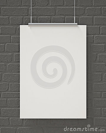 Free Mock Up Blank Poster Hanging On The Gray Brick Wall, Background Stock Images - 46999584