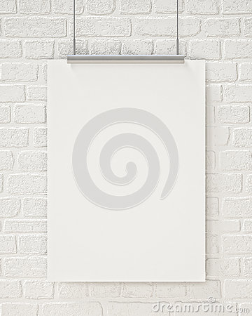 Free Mock Up Blank Poster Hanging On The White Brick Wall, Background Royalty Free Stock Photos - 46999608