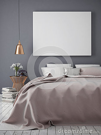 Free Mock Up Blank Poster On The Wall Of Bedroom, Royalty Free Stock Photos - 64893638