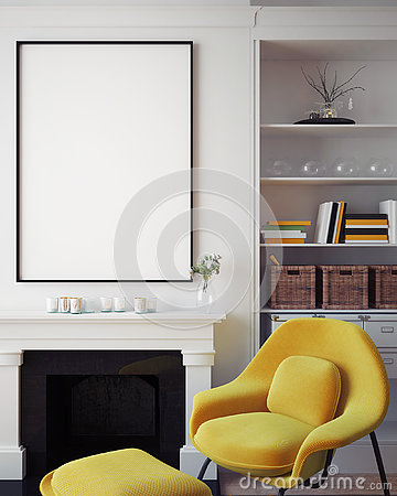 Free Mock Up Blank Poster On The Wall Of Hipster Living Room, 3D Rendering Royalty Free Stock Photos - 78525578