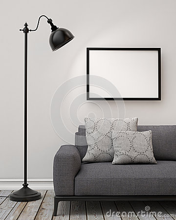 Free Mock Up Blank Poster On The Wall Of Living Room, Background Royalty Free Stock Photos - 47002688