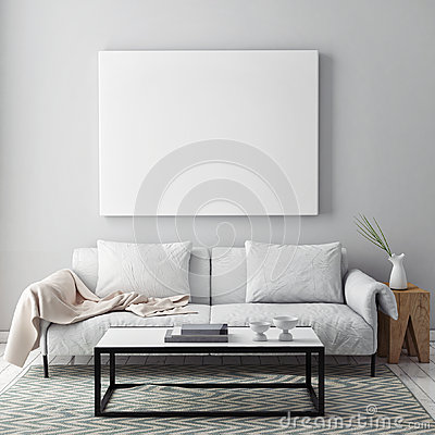 Free Mock Up Blank Poster On The Wall Of Livingroom Royalty Free Stock Photo - 63180505
