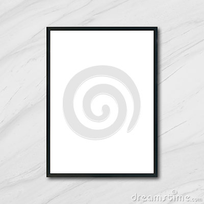 Free Mock Up Blank Poster Picture Frame Hanging On White Marble Wall In Room. Stock Image - 97952541
