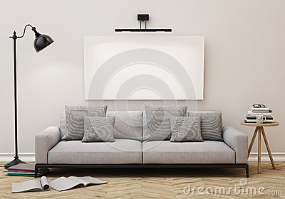 Mock up blank poster on the wall of living room, background Stock Photo