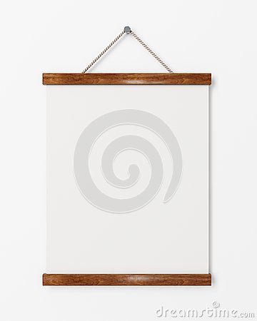 Mock up blank poster with wooden frame hanging on the for Picture frame hanging designs