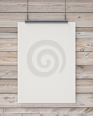 Mock up blank white hanging poster on horizontal wooden planks wall, background Stock Photo