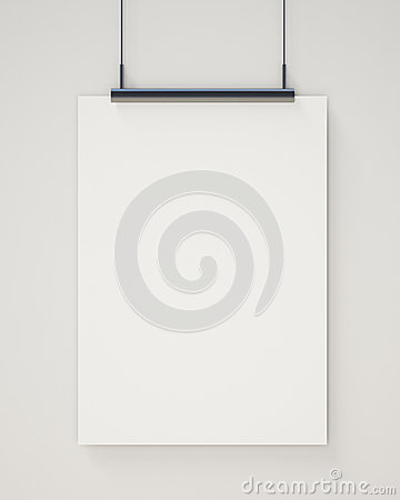 Free Mock Up Blank White Hanging Poster On White Wall, Background Royalty Free Stock Image - 46999486