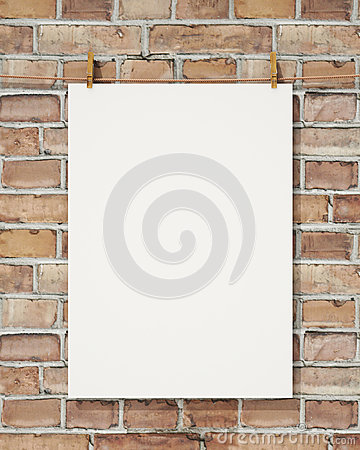 Free Mock Up Blank White Hanging Poster With Clothespin And Rope On Brick Wall, Background Royalty Free Stock Image - 46999086