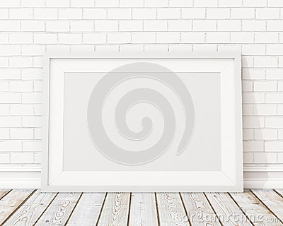 Mock up blank white horizontal picture frame on the white brick wall and the vintage floor Stock Photo