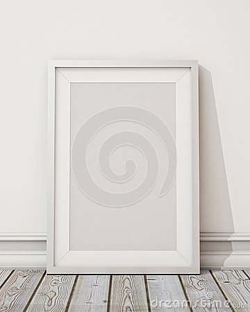 Free Mock Up Blank White Picture Frame On The White Wall And The Wooden Floor, Background Royalty Free Stock Photo - 47000905