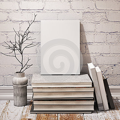 Free Mock Up Book On Pile Of Books In Hipster Loft Interior Stock Photo - 47701350